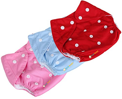 Ole Baby Cloth Diaper REUSABLE Nappy Organic Cotton Anti Bacterial Washable Free Size Adjustable WaterProof Covered 0-2 Years Pack of 3