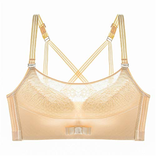 WFDDSD No Steel Ring sexy lace air Conditioning Clothing Large Size Underwear Women Gather Anti-Lighting Tube top Beauty Back Adjustment Bra Fleisch 40/90B -