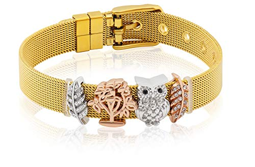 Entzückt | Armband für Frauen Gold | Individuelle Anhänger | Charms austauschbar | aus Edelstahl veredelt | Größenverstellbar | Bracelet Armband |(Eule - Gold) (Mesh Schmuck)