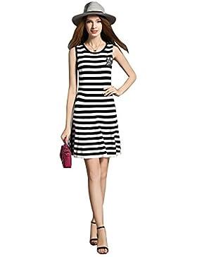 2017 Las mujeres del boutique del verano hicieron punto el vestido rayado del chaleco Las mangas delgadas Un vestido...