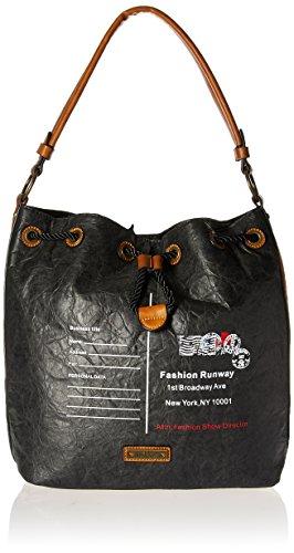 a114c147e677 Nikky Damen Women Fashion Trend Envelope Design Print Black Vintage Look  Hobo Bag By Umhängetasche, Schwarz, Einheitsgröße