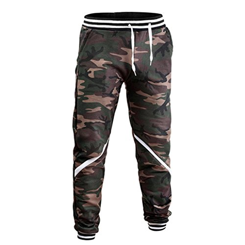 Bestoppen Mens Casual Jogging Walking Trousers,Plus Size Slim Fit Camouflage Training Pants Gym Fitness Hiking Leggings Tracksuit Bottoms Sweatpants Sportwear for Men (M, Camouflage)