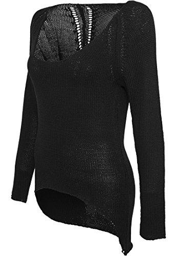 Urban Classics tb942Ladies Tube Yarn Sweater Streetwear T-shirt Pull Cardigans Femme noir