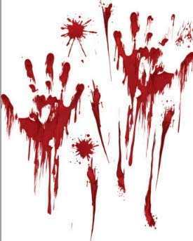 Halloween Wall Decoration Sticker Red Blood Hand Festival Dress Up Waterproof Sticker30x45cm