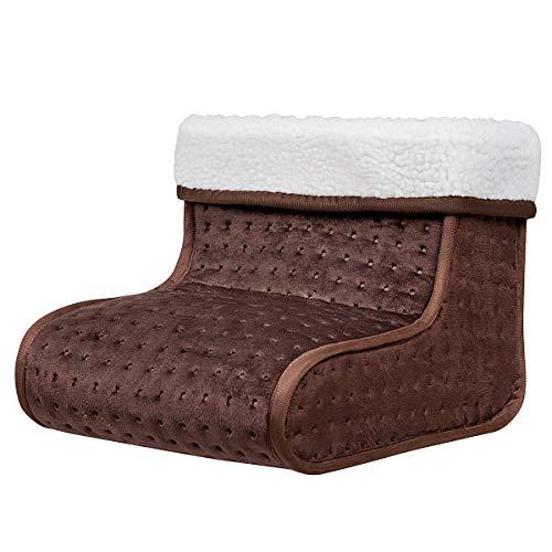 Goplus scaldapiedi elettrico extra morbido traspirante e lavabile, con 6 impostazioni di temperatura, per 2 piedi, marrone/grigio (marrone)
