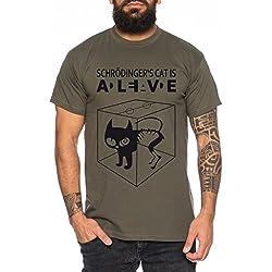 Gato de Schrödinger Sheldon Nerd Camiseta de hombre, Farbe2:Khaki;Größe2:M