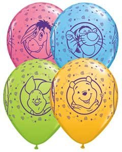 Supplies - 11 Winnie the Pooh, Tigger, Piglet & Eeyore Latex Balloons Bag of 25 by Single Source Party Supplies ()
