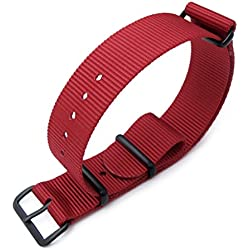 MiLTAT 18mm G10 NATO Watch Strap, Ballistic Nylon PVD Hardware, Color Red