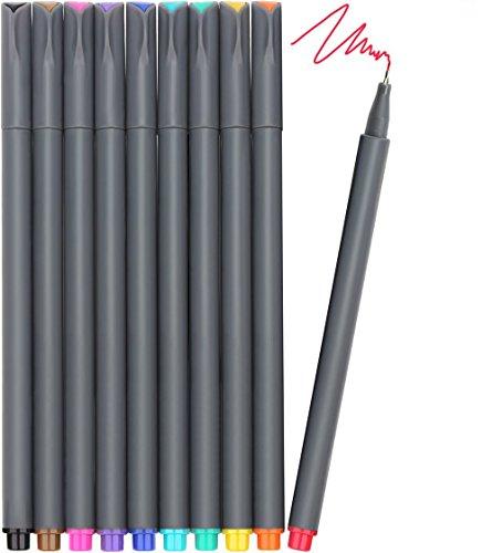 Fineliner Farbe Stifte Set, Morkia 10 Fine Liner Zeichnung Stift, 10 Farben Fine Point Spitze Buntstifte für Bullet Journal, Kalender, Planer, Notizen und Malbuch