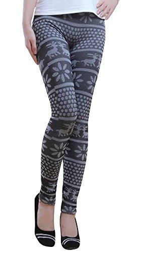 Damen Warme Winter Leggings Schwarz Grau Gefüttert Stretch Norweger Jeggings Hose Thermo Größe S/M