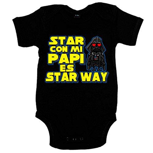 Body bebé Star Wars estar con mi papi es Star Way - Negro, 6-12 meses