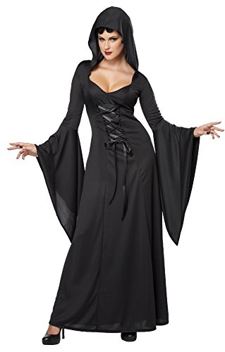 Hooded Schwarze Kostüm Robe - Gothic Kleid, Mittelalter Kostüm Damen, Deluxe Hooded Robe 01338 (X-Large)