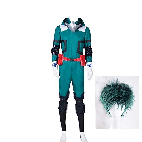 Herren Midoriya Izuku Deku Cosplay Kostüm Boku No Hero My Hero Academia Uniform Kampfanzug Outfit mit grüner kurzer Perücke,M