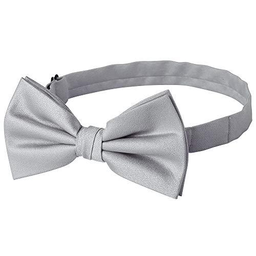 Jacob Alexander Men's Tone on Tone Metallic Pre-Tied Bow Tie - Silver - Pretied Bow Tie