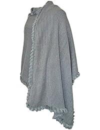 Trachtenland Dirndltuch Strick Stola mit Fellbesatz - Kuscheliger Schal zu Dirndl, Trachten und Abendkleidern