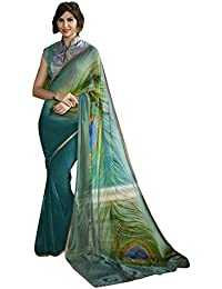 Craftsvilla Women's Multicolor Georgette Hand Printed Saree With Blouse Piece