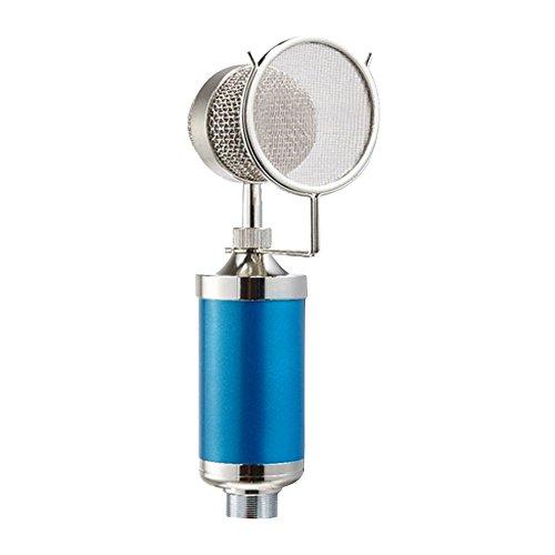 Generic BM5000 Profesional Micrófono de Condensador Vocal Difusión de Estudio Grabación Condenser Microphone Kit con Mic Montaje de choque + Filtro Anti-pop + Cable de Audio, ideal para Radio Broadcasting Studio, Voz sobre estudio de sonido, Sound Recording, Conectar con el ordenador, cantar de Karaoke y así sucesivamente - Azul