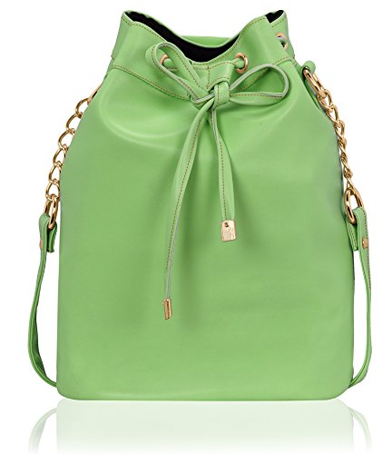 Kleio Stylish Solid Color Bucket Sling Bag for Women / Girls (Green) (EDK1036KL-GR)