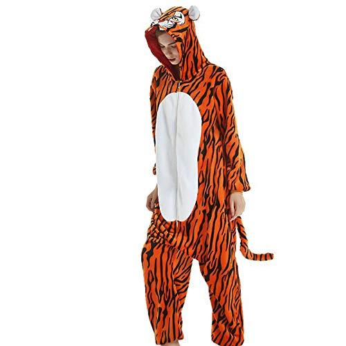 Pyjamas Kostüm Jumpsuit Schlafanzug Plüschtier Flanell Halloween Kostüm Tier Cosplay (Tiger, - Tiger Kostüm Halloween