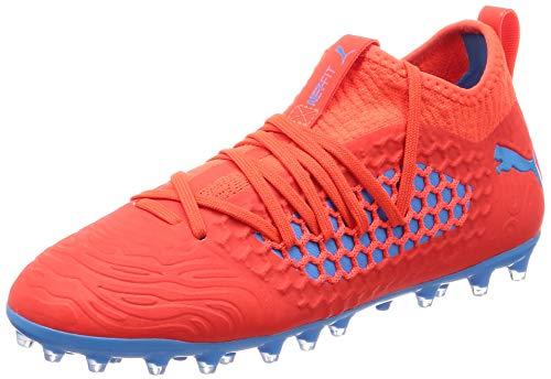 Puma Unisex-Kinder Future 19.3 Netfit MG Jr Fußballschuhe, Rot (Red Blast-Bleu Azur), 37 EU (Jungs Fußballschuh)