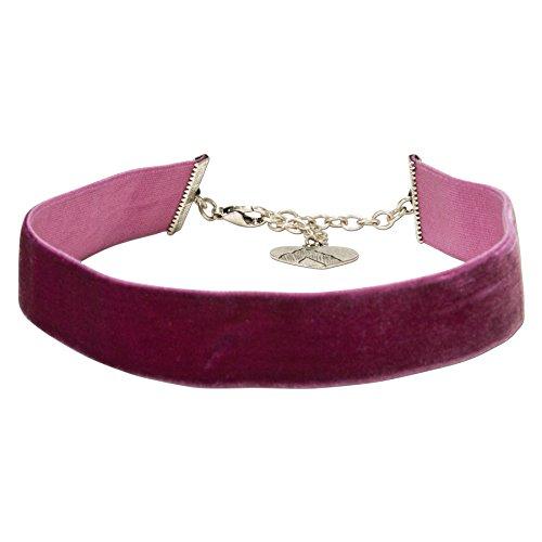 Alpenflüstern Trachten-Samt-Kropfband breit - Trachtenkette enganliegend, Kropfkette elastisch, eleganter Damen-Trachtenschmuck, Samtkropfband lila-violett DHK199