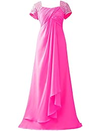 fb748aff8b62 HUINI cap Sleeves Perline Lungo Chiffon Ballo di fine Anno Abiti da  Cerimonia Madre della Sposa