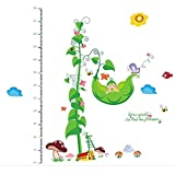 #4: Outgeek Kids Cute Pea Vine Height Chart Wall Paper (Green)