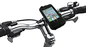 Tigra Sport BikeConsole Cycling Bike Kit Incuding Waterproof Case Cover and Handlebar Stem Mount for iPhone 3/3G/ 4 /4s - Black