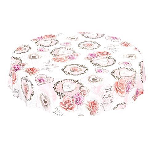 ANRO Tischdecke Wachstischdecke Wachstuch Wachstuchtischdecke Rosa Herz Liebe Rose Rund 140cm