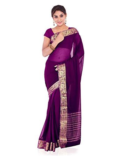 Roopkala Silks & Sarees Women's Chiffon With Blouse Piece (Ds-234_Wine)