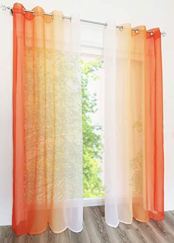 EZ GLAM Gardinen mit Verlauf-Farben Muster Schön Transparent Voile 2PC Vorhänge (B*H 140 * 225cm, Orange mit Ösen)