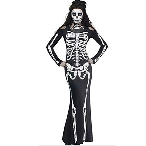 Clown Scary Kostüm Damen - FIREWSJ Halloween Kostüm Dekoration Frauen Halloween Bedruckte Kleidung Dame Braut Langarm Schwarz Scary Clown Cosplay Dress