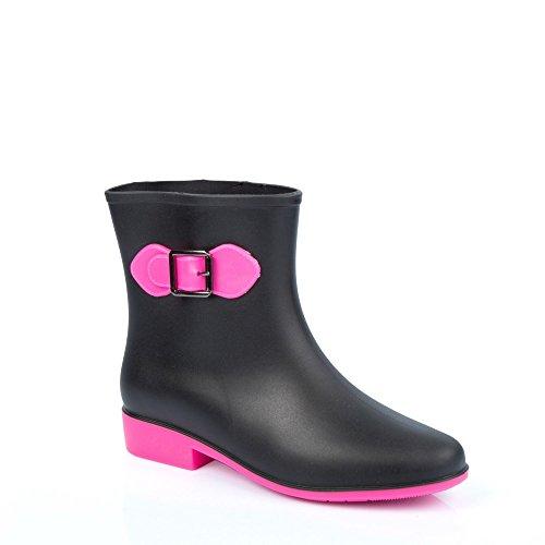 Ideal Shoes–Stivaletti da pioggia bicolore con fibbia laterale, mod. Ebony Rose
