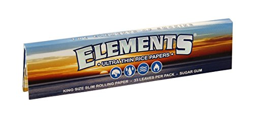 Elements King Size slim Papers Blättchen aus Reis Rolling Paper NEU! 10 Booklets (Paper Rolling Elements)