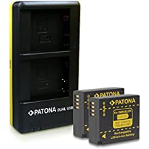 PATONA Dual Caricabatteria y 2x Batteria DMW-BLG10 per Panasonic Lumix DMC-GF6 GX7 LX100