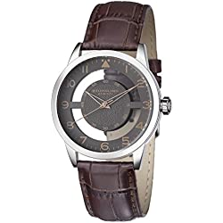 Stuhrling Original Men's Quartz Watch with Grey Dial Analogue Display and Brown Leather Strap 650.03