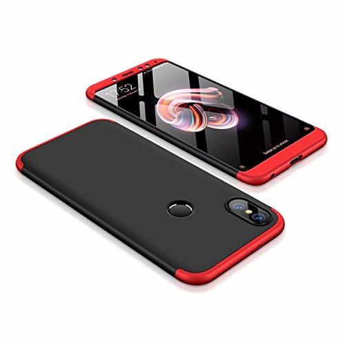 DESCHE compatibles con Funda Xiaomi Redmi Note 5 Rojo Negro, PC Duro Cubierta Protectora Ultrafino Anti-rasguños Parachoque Mate Phone Case - Rojo Negro