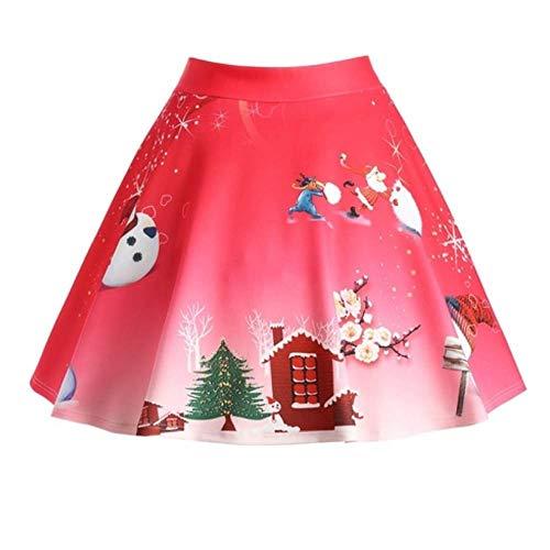 Longzjhd Damen Mädchen Basic Solid vielseitige dehnbaren Mini Skater Rock Frau Weihnachten Rock...