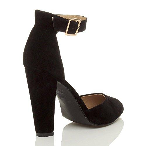 Donna tacco alto blocco cinturino caviglia fibbia punta décolleté scarpe taglia Nera scamosciata