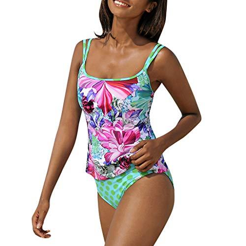 TTLOVE_Damen Schlankheits Badeanzug Riemchen Bademode Tankini Gepolsterte Bikini Beachwear Frauen Schwimmen KostüM Strandmode Strandkleidung ()