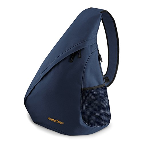 Crossbody Hipster Messenger Bag (Moderner Messenger Dreieck-Rucksack, Umhängetasche, Body Bag, Crossover Sling Bag Farbe: Navy-Blau - Goodman Design ®)
