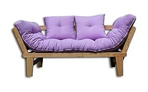 Canapé-lit Sésamo, Naturel, Futon Violet, 200x82x32 cm
