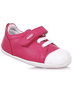 BOBUX - Zapato fucsia Step Up Scribble de cuero, made in New Zealand, con cierre de velcro, niña, niñas