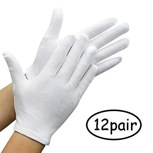 Lvcky 12 Paar weiße Handschuhe aus Reiner Baumwolle, Inspektion Schmuck Gesundheit tägliche Arbeit Handschuhe groß für Männer Frauen (12 Stück)