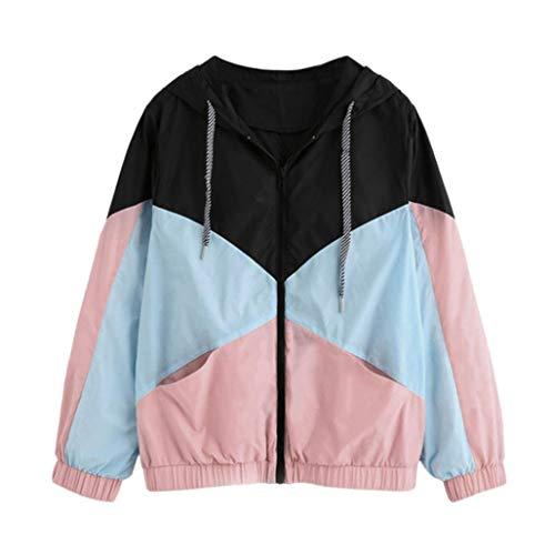 QUINTRA Damen Casual Sport Mantel mit Taschen Langarm Patchwork Hooded Zipper Kapuzenpullover