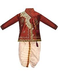 JBN Creation Boys Cotton Silk Kurta and Dhoti Pant Set (Maroon_VASBDK001)