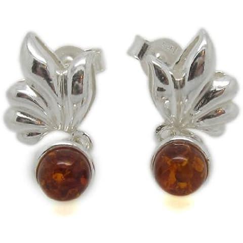 De ley 925 Amberta® jedo plateado con ámbar báltico y Juego de pendientes de Pretty Gemstone - drop/de porcelana diseño de tornillo - redondo ideal coñac Gem