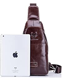 Leathario bolso bolsa mochila de pecho piel cuero para hombres bolso hombro con cuero compuesto para diario o trabajo.