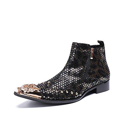 CAI Herrenschuhe Neuheit/Spitz/Leder Herbst/Winter Fashion Boots/Stiefeletten Stiefeletten Booties/Stiefeletten Herren Party & Abend Lederschuhe (Farbe : Gold, Größe : 45)