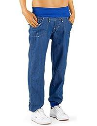 Bestyledberlin Damen Jeans Hose Baggy Boyfriend Hüftjeans Stretch Bund, Style Pluderhose j85h2